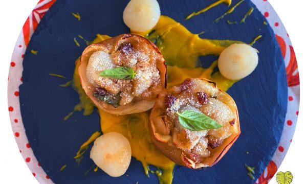 Cipolline in agrodolce con uvetta, mele e crema di zucca