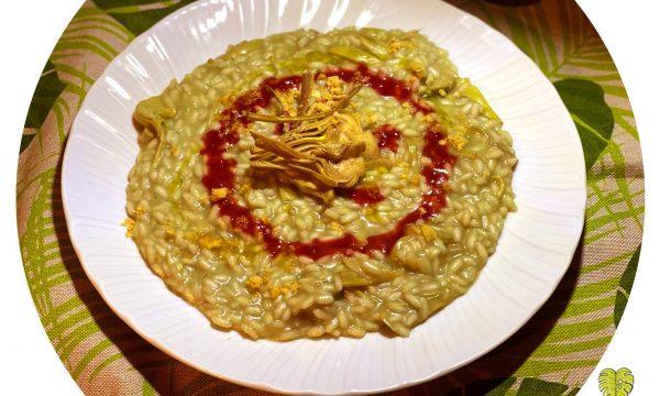 Risotto ai carciofi con salsa acidula ai lamponi